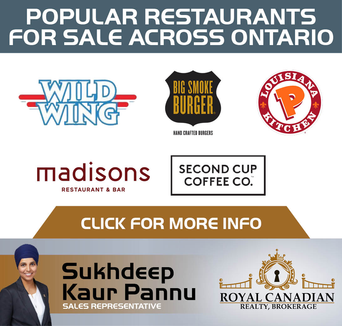 Popular Restaurants for Sale Across Ontario