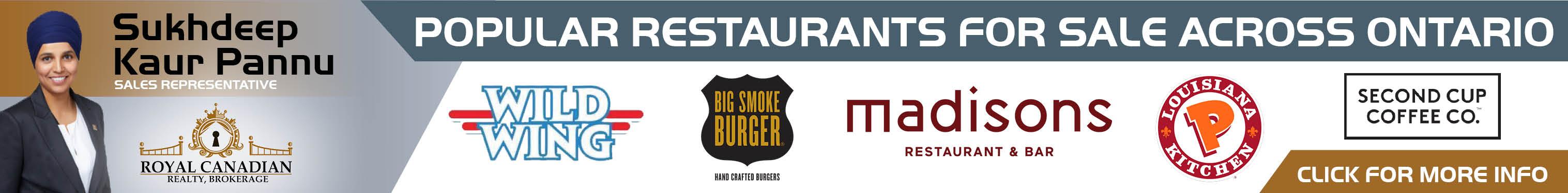 Popular Restaurants for Sale Across Ontario